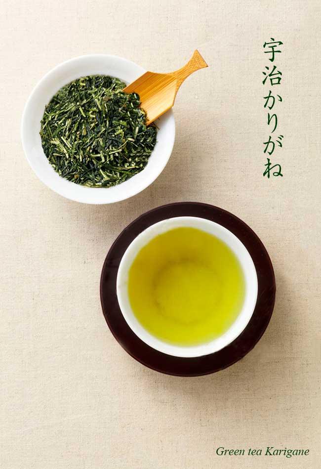 宇治茶園の雁が音。上級煎茶や玉露の茎部分を集めたお茶です。茶葉だけのお茶と比べると濃厚さよりすっきりとした旨み が味わえます。玉露より比較的リーズナブルです。
